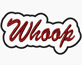 Whoop Script with Background Embroidery Machine Applique 18053