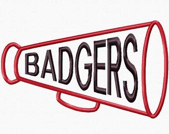 Badgers Megaphone Applique Digital Design 18052 INTANT DOWNLOAD