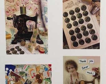 Seamstress Notions Notecards -Variety-Set of 8