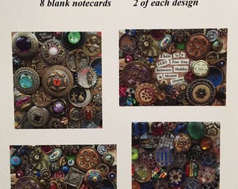 Antique Button Medley Notecards-Variety-Set of 8