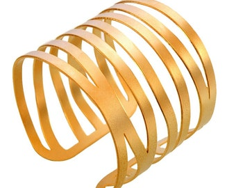 multiple stripes cuff wide bracelet gold plated brass metal fashion jewelry gift present, hand made,art craft modern all day elegant