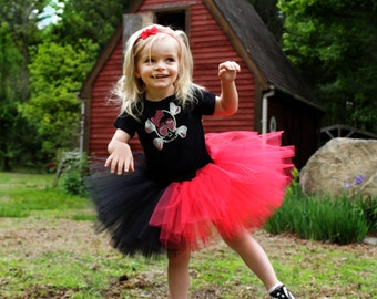 5a3d35365 Childs Harley Quinn tutu red black layered skirt mini puffy girls todler dance  ballet dress up halloween - Grow with me - SistersEnchanted