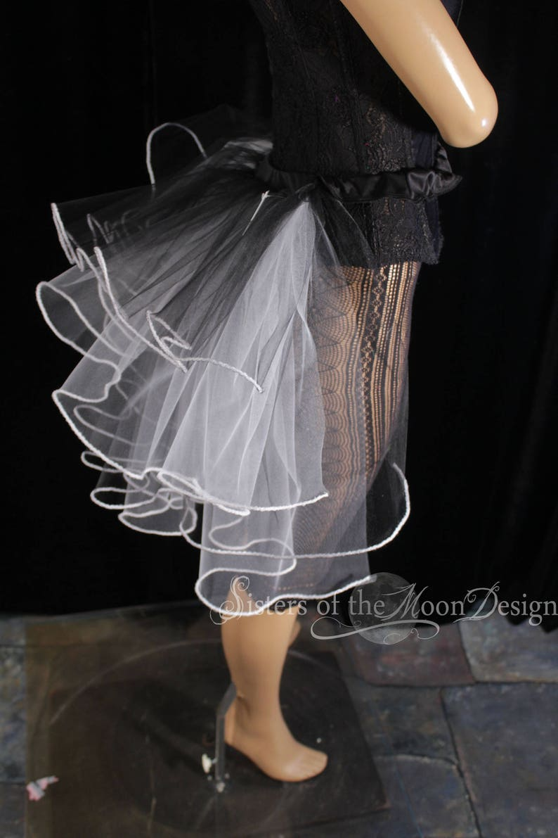 All Sizes SIstersEnchanted Black white Bustle belt ribbon tie on trimmed burlesque dancer halloween costume dance wear carnival