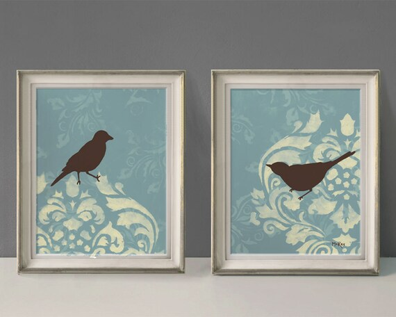 Items Similar To Shabby Bird Prints, French Country Wall