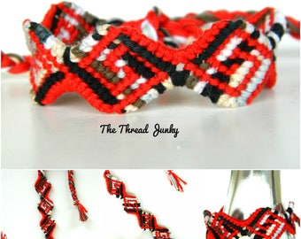 Shaped Red, White, and Black Hand Knotted Friendship Bracelet-Ready to Ship-