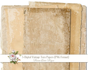 Vintage Torn Papers, Antique Paper blanks, instant download, PNG Format, ripped paper, Scrapbooking, cu ok, old papers, grunge