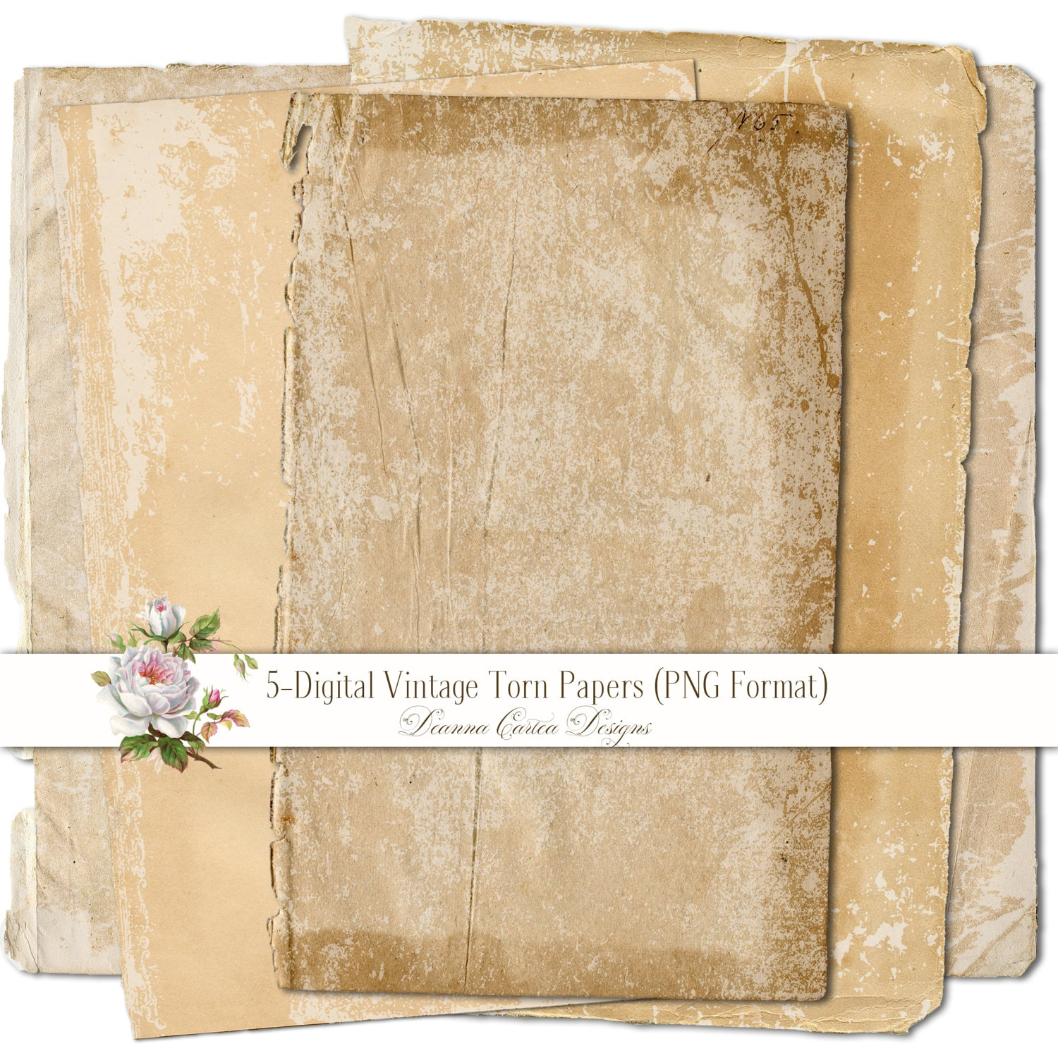 Ripped Old Paper: Vintage Torn Papers Antique Paper Blanks Instant Download