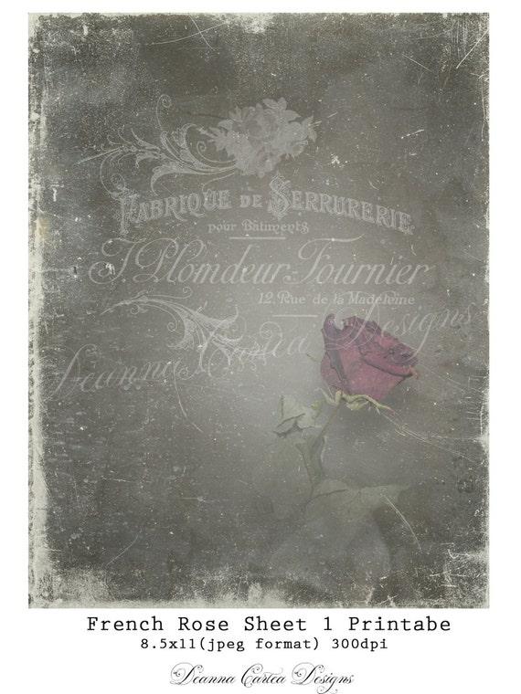 Vintage Druku Papieru Francuski Rose Sheet 1 Etsy