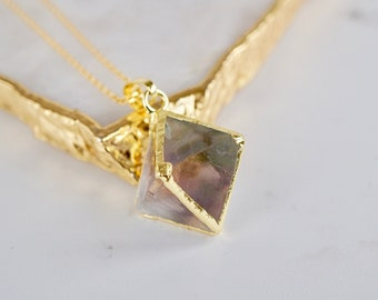 Crystal necklace,Fluorite pendant ,natural stone necklace