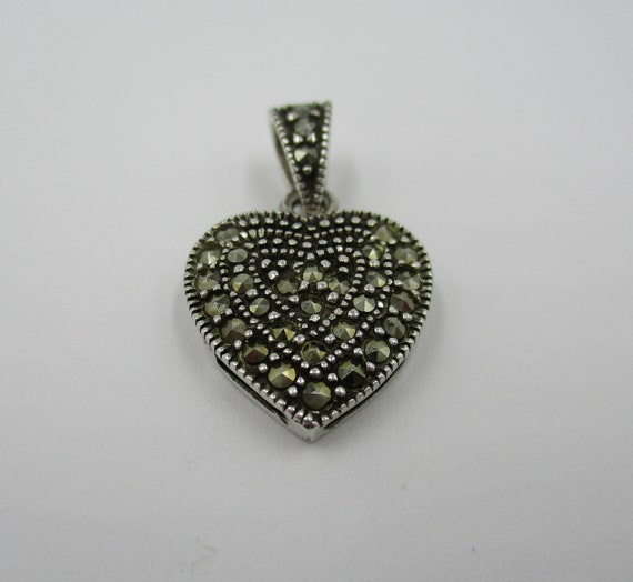 """NEW Sterling Silver Black Onyx Marcasite Round Life Saver 18/"""" Pendant Necklace"""