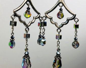 Vintage Vitrail Crystal Chandelier Earrings Sterling Silver Swarovski Teardrops