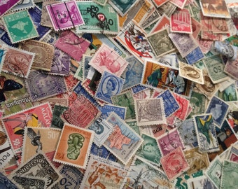 Vintage Worldwide Off Paper Used Postage Stamps, Vintage Ephemera Stamps, 100 Piece Lot Postage Stamps, Foreign Postage