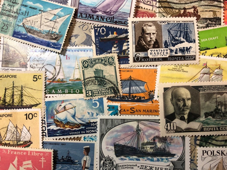 Philatelic 50 Used Stamps Vintage Paper Ephemera Stamps SHIPS,SAILBOATS and BOAT Stamps Used Off Paper Worldwide Postage Stamps