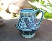 Wonderful Folk Art Rabbit, Lion, Dog Hand Painted Stylized European Medieval Yellow Wear Sewer Tiles Ceramics End of Day Crockery Mug