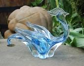 Mid Century Modern Crystal Blue Chalet Lorraine Art Glass Sculpture Figurine Bowl, Free Form Art Glass Rooster, Peacock, Bird Center Piece