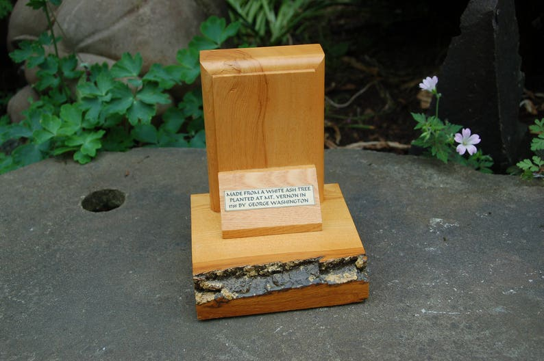 Vernon White Ash Wood Bookend ~ Bookend Made From A White Ash Tree Planted At MT Vernon in 1785 by George Washington 232 year old Mt