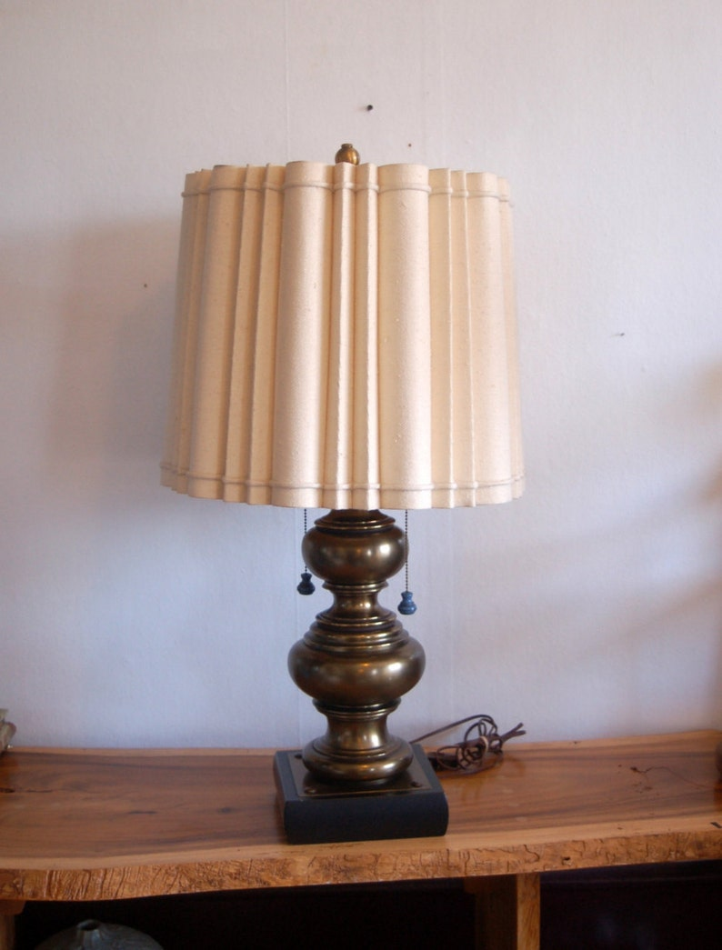 Massive Antique Brass Stacked Bubbles Table Lamp on a Square Weighted Base w a Double Arm Light Cluster /& Sculptured Linen Lamp Shade