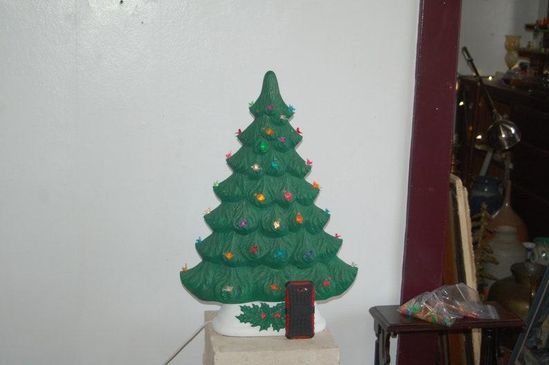 26 Tall Ceramic Flat Window Sill Mantle Lit Christmas Tree W Multi Color Bird Bulbs Wall Hugging Flat Ceramic Lit Christmas Tree