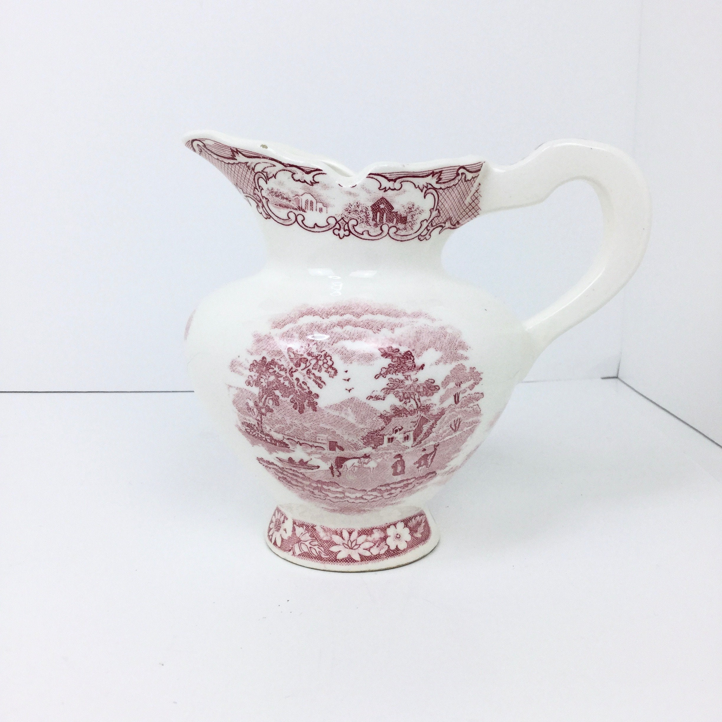 Incredible Vintage Red Toile Cream Pitcher Arco Dallas Fine China Mid Century White Country Farmhouse Christmas Decor Shabby Chic Gifts For Her Creamer Download Free Architecture Designs Rallybritishbridgeorg