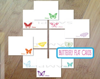 Butterfly Personalized Stationary, Blank Flat Note Cards, Set of 10, Professionally Printed