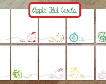 Apple, Personalized Stationary, Blank Flat Note Cards, Set of 10, Professionally Printed