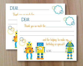 Gears and Bolts, Robot, Fill in Thank you Cards, Set of 10 Personalized Flat Cards with envelopes, Professionally Printed