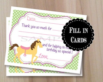 Pony Party, Fill in Thank you Cards, Set of 10 Personalized Flat Cards with envelopes, Professionally Printed