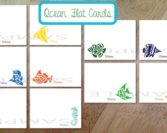 Ocean, Fish Personalized Stationary, Blank Flat Note Cards, Set of 10, Professionally Printed