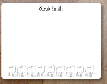 Sheep Stationery, Personalized Blank Flat Note Cards, Set of Printed 10 ANY COLOR