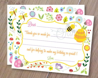 Bumble Bee and Ladybug, Fill in Thank you Cards, Set of 10 Personalized Flat Cards with envelopes, Professionally Printed