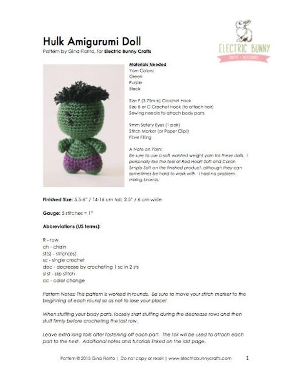 Tutorial Hulk Amigurumi | Serie Princesas y Súper Héroes | Lanas y ... | 736x570
