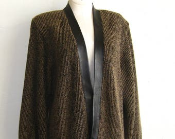 cb3a142c023 Vintage 80s St. John Knits Brown   Black Cable Knit Sweater Leather Trim  Cardigan