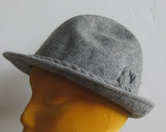 d415e245352 Vintage Gray German Wool Trachten Wear Oktoberfest Tyrolean Hat Small