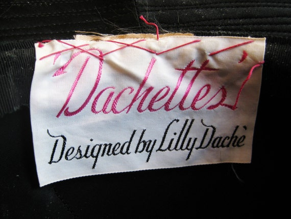 Vintage 60s Lilly Dache Dachettes Two Tone Black … - image 5
