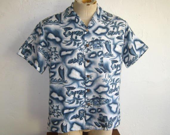 Vintage Kennington Hawaiian Blue Hawaii Map Tiki P