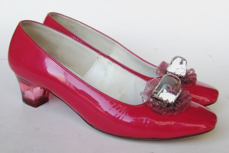 Vintage 60s 70s Shoes Hot Pink Lucite Heel Square Toe Shoes 6