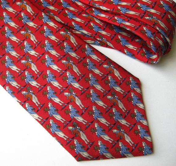 Vintage Salvatore Ferragamo Red Italian Silk Mens