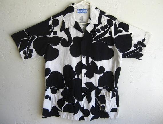 Vintage Waltah Clarke Black & White Cotton Tiki Lu
