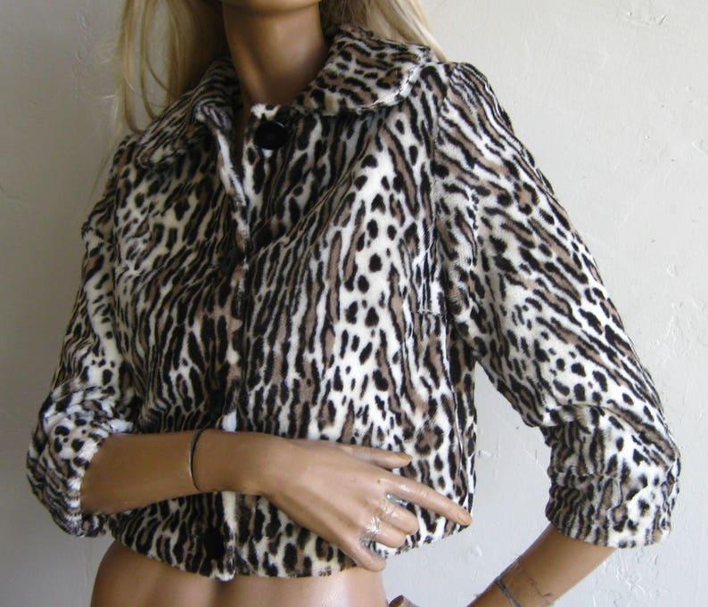 Women's Clothing Pink leopard Jakke mid length faux fur coat
