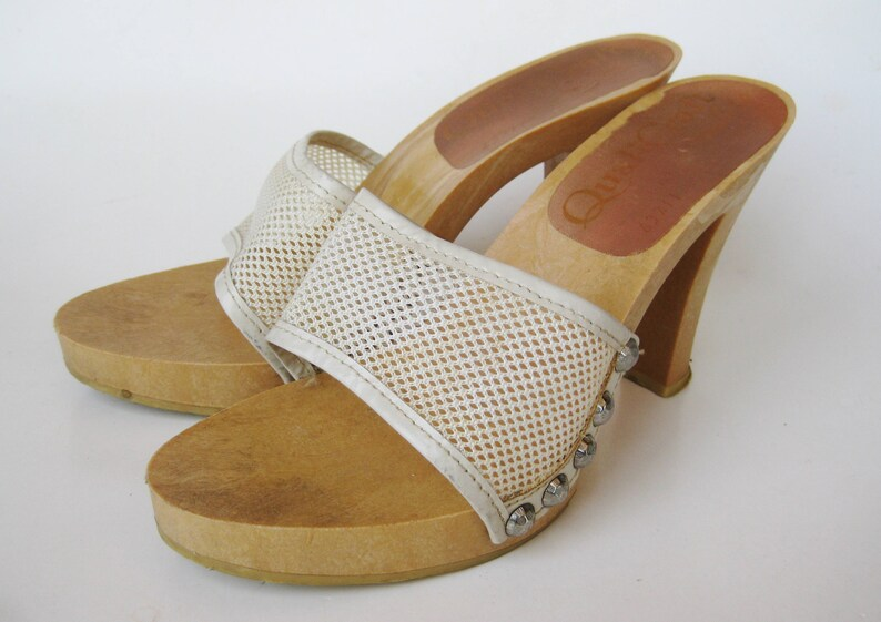 af470e79f5c7 Vintage 60s 70s Shoes Open Toe White Mesh Slip On Platform