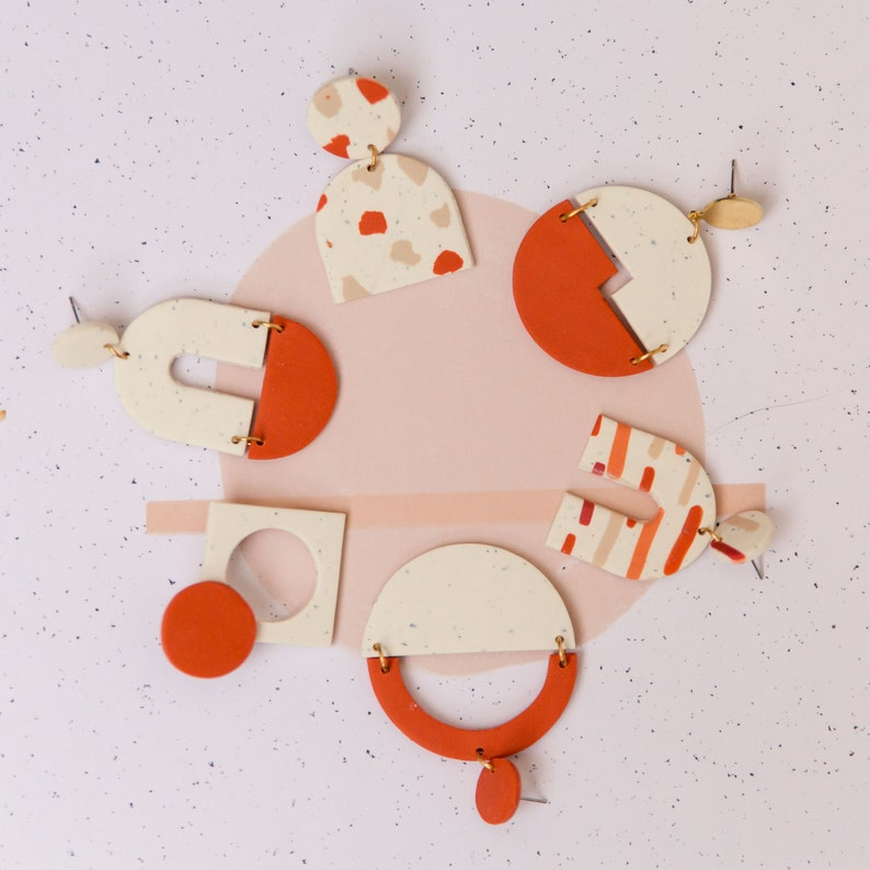 Art Deco Bauhaus geometrical statement terracotta minimal orange handmade polymer clay earrings offwhite modern One of a kind