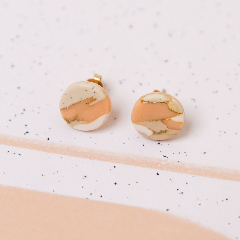 One of a kind minimal modern Art Deco Bauhaus geometrical statement arch stud blush and gold marbled handmade polymer clay earrings