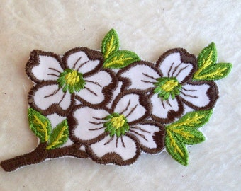 Retro Flowers Velveteen Sew on Vintage Sewing Patch Applique 1970's