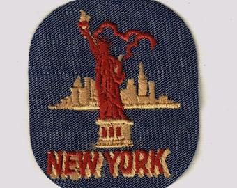 New York Lady Liberty City Vintage 1970's Sewing Patch Applique iron Nostalgic