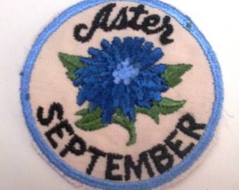 ASTER SEPTEMBER Flower of the Month Rare Vintage 1970's Sewing Patch
