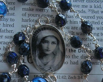 Sterling Silver Rosary Catholic Blue Unbreakable Free Shipping