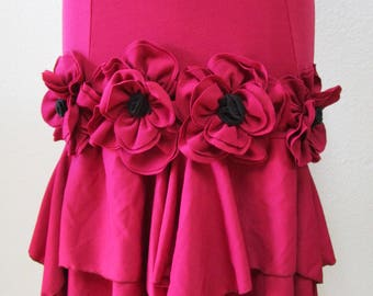 Lovely special rose decoration burgundy color skirt or tube dress for your option plus made in USA (V168)