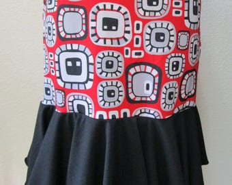 Modern art print in black, red gray and white color long length skirt or tube dress(vn110)
