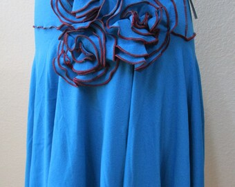 Parakeet color skirt or tube dress with roses decoration and ruffled edging plus made in USA (v50)
