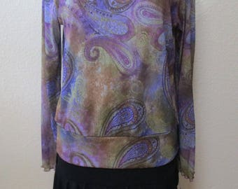 Paisley print top with rose decoration plus made in USA (V125)